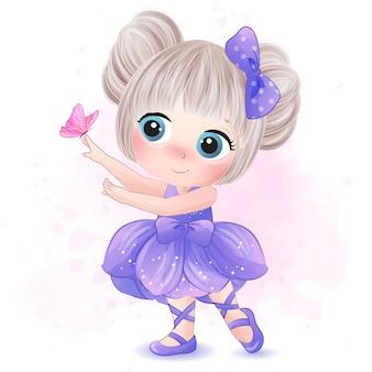 Niña linda con la ilustración de la bailarina