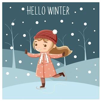 Niña linda jugando patinaje sobre hielo en temporada de invierno