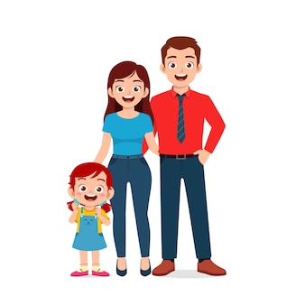Niña linda con mamá y papá juntos