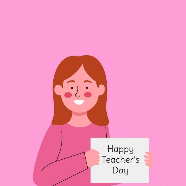Niña linda con papel diciendo saludo para el día del maestro