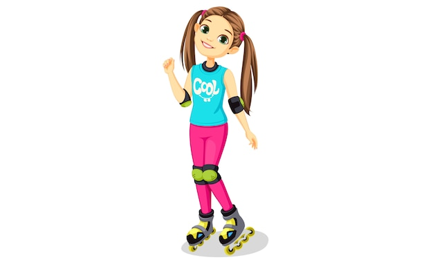 Niña linda con patines