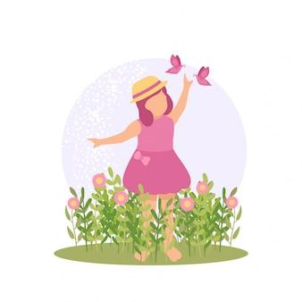 Niña linda primavera jugando flor y mariposa en el parque