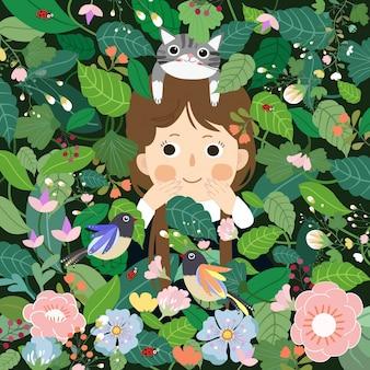 Niña linda que se divierte en la historieta del jardín.