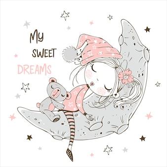 Niña linda que duerme con el oso de peluche en la luna.