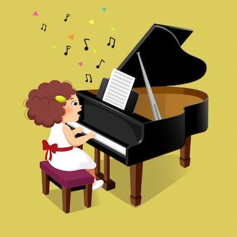Niña linda que toca el piano de cola
