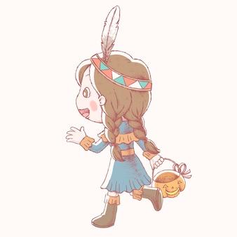 Niña linda en traje indio nativo y sosteniendo un cubo de calabaza