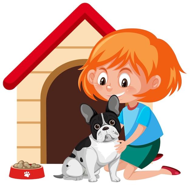Una niña con lindo perro y casa de perro sobre fondo blanco.