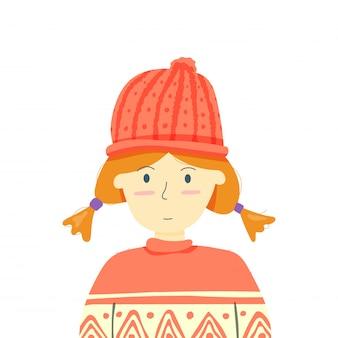 La niña lleva un suéter listo para el clima invernal.