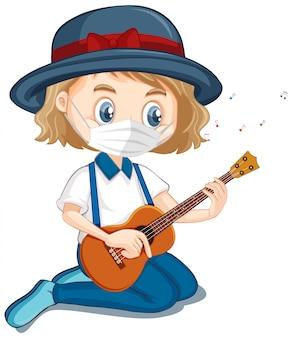 Niña, llevando, máscara, tocar la guitarra