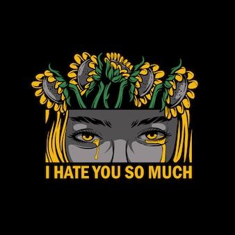 Niña llorando con girasol en la cabeza ilustración