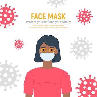 Niña con máscara médica en la cara para protegerla contra el coronavirus covid-19, 2019-ncov aislado sobre fondo blanco. concepto de protección contra virus para niños. mantenerse a salvo. ilustración