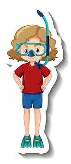 Una niña con máscara de snorkel pegatina de personaje de dibujos animados