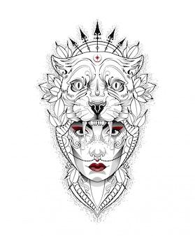 Niña con una máscara de tigre en la cabeza