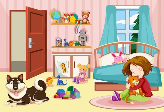 Niña y mascotas en el dormitorio