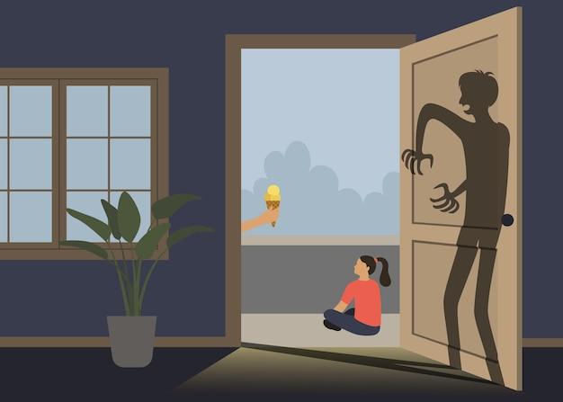 Niña mira al hombre que le da su helado sombra aterradora quiere lastimar a la niña problema de pedofilia