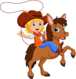 Niña montando un caballo con lazo