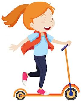 Una niña montando en scooter con estilo de dibujos animados de humor feliz aislado