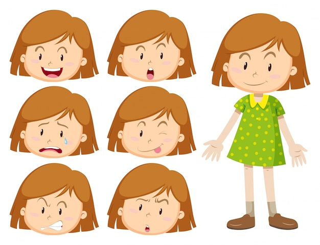 Niña con muchas expresiones faciales ilustración