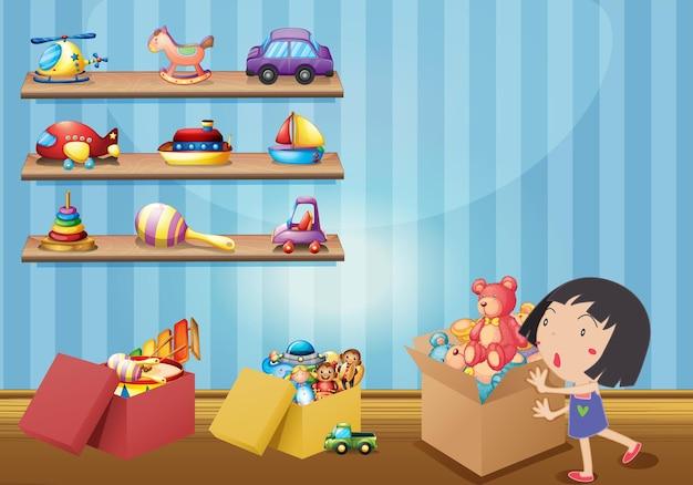 Niña y muchos juguetes en los estantes.