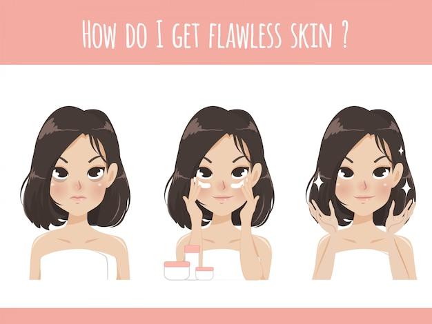 La niña muestra la crema debajo de los ojos para eliminar las marcas y arrugas opacas y hacer que la cara se vea brillante, clara y más joven.