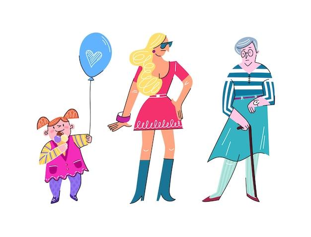Niña, mujer joven y anciana caminando juntos plano lindo aislado en blanco