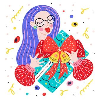 Niña, mujer joven con un regalo. año nuevo, regalo de navidad con lazo rojo y cascabeles. ilustración plana, tarjeta de felicitación de navidad.