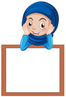 Una niña musulmana con banner en blanco.