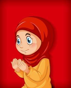 Niña musulmana practica la religión