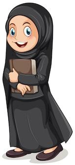 Niña musulmana en traje negro