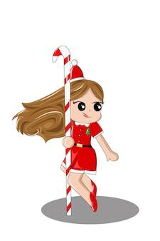 Niña, con, navidad, bastón de caramelo