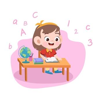Niña, niña, estudio, ilustración
