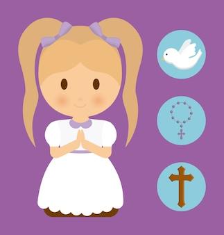 Niña, niño, caricatura, paloma, cruz, rosario, icono