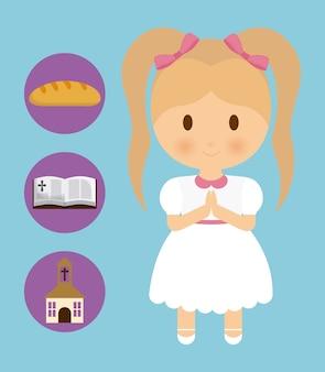 Niña, niño, caricatura, pan, biblia, iglesia, icono