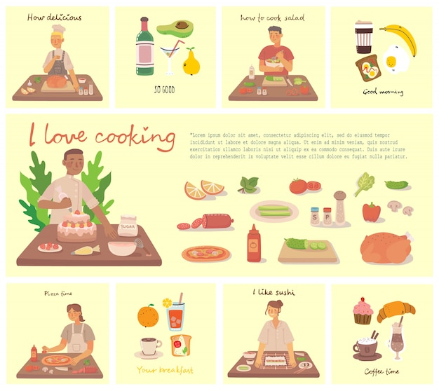 Niña y niño cocinando pizza, pastel y ensalada en la cocina en casa. cocinar pizza y ensalada con ingredientes. ilustración de estilo plano.