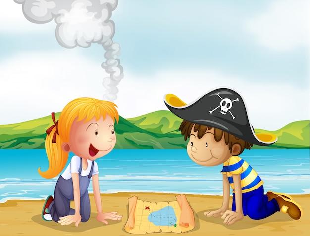 Una niña y un niño estudiando el mapa