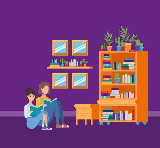 Niña y niño, en, estudio, habitación