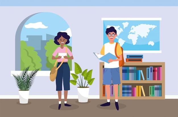 Niña y niño con libro de educación en el aula
