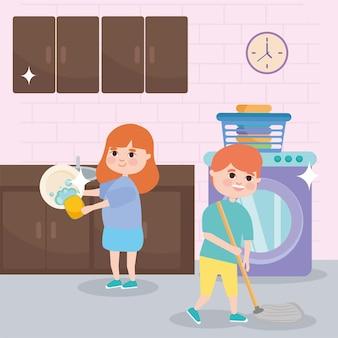 Niña y niño limpiando en la cocina.