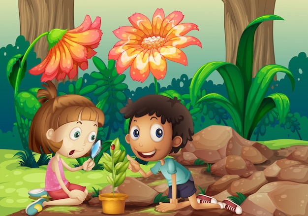 Una niña y un niño mirando la planta con una lupa.