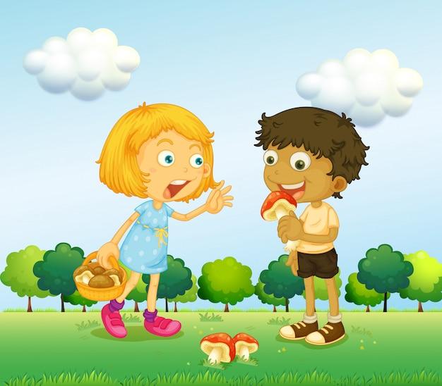 Una niña y un niño recogiendo hongos