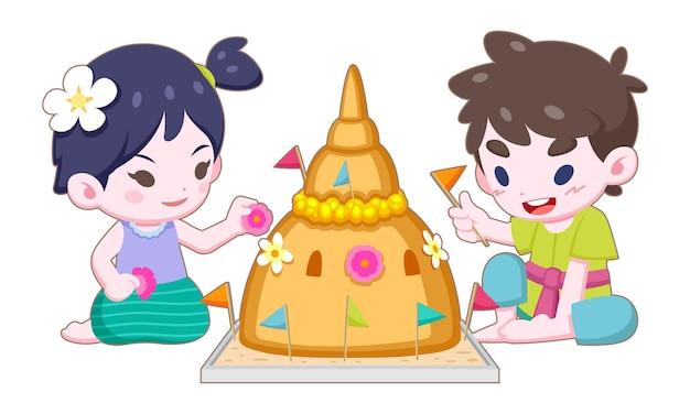 Niña y niño tailandeses de estilo de dibujos animados lindo en ropa vintage haciendo y decorando ilustración de pagoda de arena