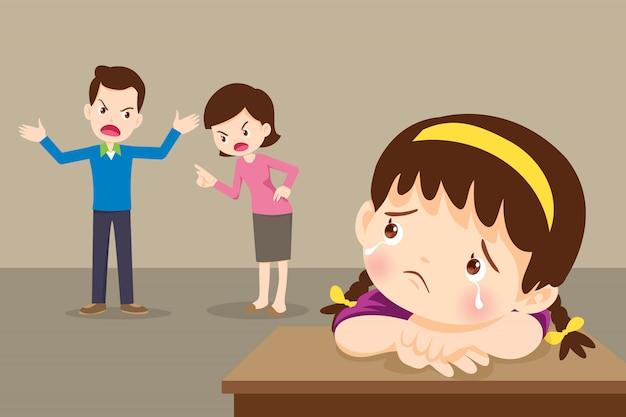 Niña niño triste con enojado papá y mamá peleando