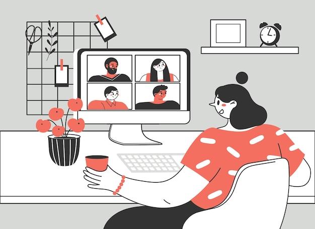 Niña o mujer usando una computadora para reunión virtual colectiva, videoconferencia grupal.