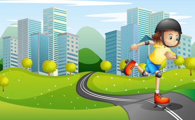 Una niña patinando en la carretera con un casco de seguridad