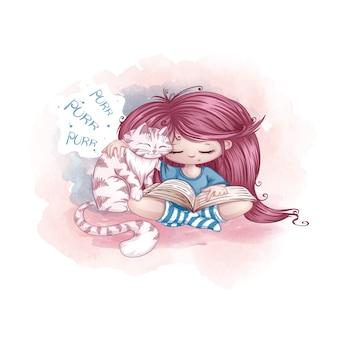 Una niña con el pelo largo y magnífico de color rosa se sienta con las piernas cruzadas, abraza a un gato y lee un libro.