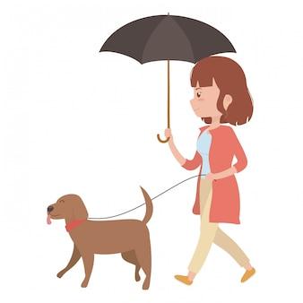 Niña con perro de dibujos animados