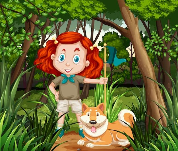 Niña y perro en la selva.