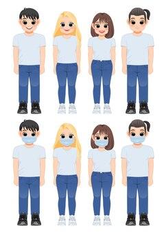 Niña de personaje de dibujos animados y niño en camisa blanca y jeans sonriendo. jóvenes con máscara médica parados juntos