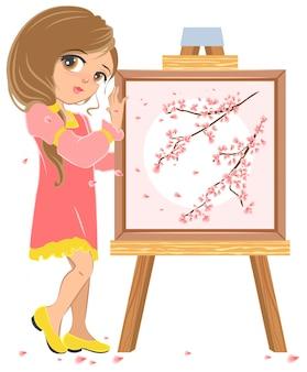 Niña de pie cerca del pintor de caballete, imagen de flores de cerezo