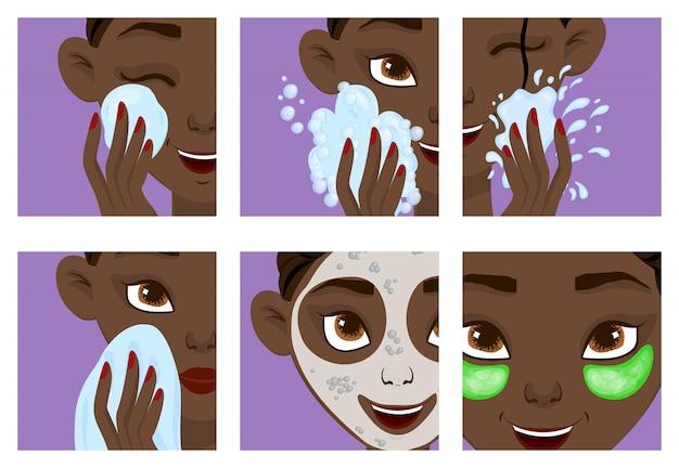 Niña de piel oscura con etapas de cuidado de la piel.